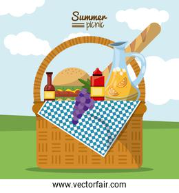 colorful poster of summer picnic with outdoor landscape and picnic basket full of food
