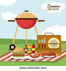 colorful poster of summer picnic with field landscape and picnic basket in tablecloth with charcoal grill and sausage and sauces and burger