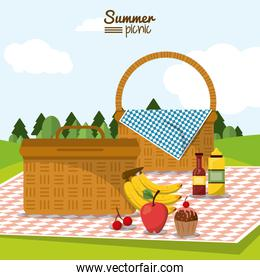 colorful poster of summer picnic with field landscape and two picnic basket in tablecloth with fruits and dessert
