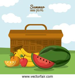 colorful poster of summer picnic with outdoor landscape with picnic basket and tropical fruits