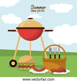 colorful poster of summer picnic with field landscape with picnic basket and charcoal grill and dishes with sausage and meat and burger
