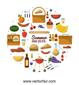 white background of colorful poster of summer picnic with set of utilities and food