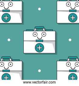 colorful background with pattern of first aid kit animated