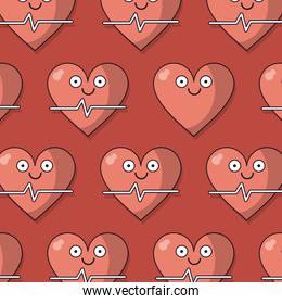 colorful background with pattern of heart and pulse signal animated