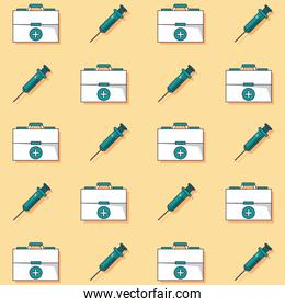 colorful background with pattern of first aid kit and syringes animated