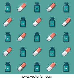 colorful background with pattern of medicine bottles and pills animated
