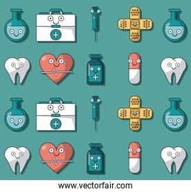 colorful background with pattern of animated medical elements