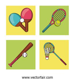 white background with colorful set of frames with sports rackets and baseball bat