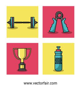 white background with colorful set of frames of weightlifting elements