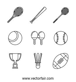 white background with monochrome set of sports of racket and baseball bat and football ball
