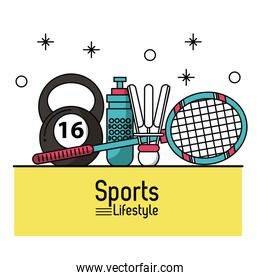 colorful poster of sports lifestyle with badminton racket and ball