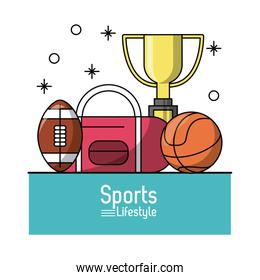colorful poster of sports lifestyle with trophy and balls of football and basketball
