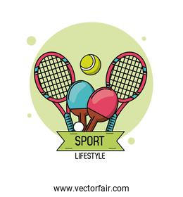 colorful poster of sport lifestyle with elements of tennis and ping pong