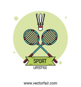 colorful poster of sport lifestyle of badminton