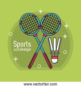 colorful poster of sport lifestyle with badminton icons