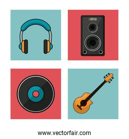 white background with colorful squares with musical instruments and playback elements
