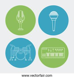 white background with colorful round frames with audio elements