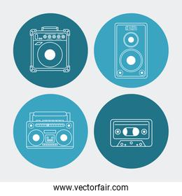 white background with colorful round frames with audio playback elements