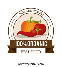 colorful logo of fresh and healthy organic food with chilli pumpkin and apple