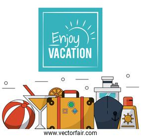 color poster of enjoy vacation with luggage and cruise ship and cocktail and sunblock