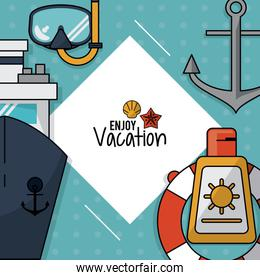 colorful poster of enjoy vacation with snorkel and cruise ship and anchor and sunblock