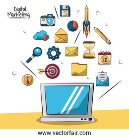 poster of digital marketing with laptop computer in closeup and smaller marketing icons in background