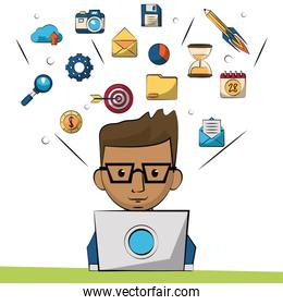 colorful background with marketing designer in closeup and smaller marketing icons in background