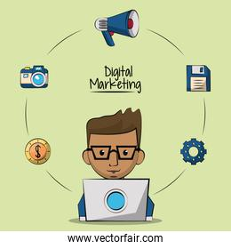 poster of digital marketing with designer man in laptop computer closeup and marketing icons around