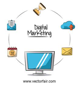 poster of digital marketing with lcd monitor in closeup and marketing icons around