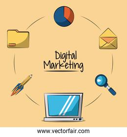 poster of digital marketing with laptop computer in closeup and marketing icons around