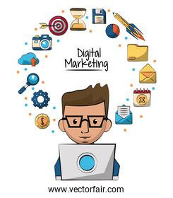 poster of digital marketing with man working in laptop computer in closeup and marketing icons around of him