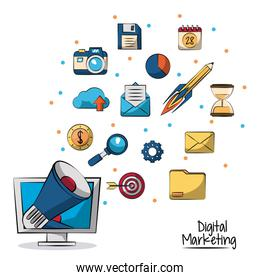 poster of digital marketing with megaphone coming out of lcd monitor in closeup and marketing icons in background