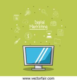 poster of digital marketing with lcd monitor and sketch background of marketing icons
