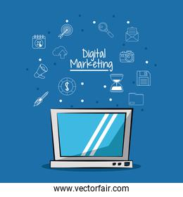 poster of digital marketing with laptop computer and sketch background of marketing icons