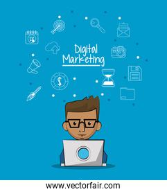 poster of digital marketing with man working in laptop computer and sketch background of marketing icons
