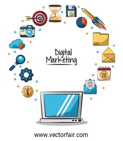 poster of digital marketing with laptop computer in closeup and marketing icons around on him