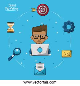 poster of digital marketing with man working in laptop computer in closeup and marketing icons around on him