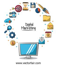 poster of digital marketing with lcd monitor in closeup and marketing icons around on him