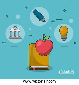 colorful poster of education with book and apple in closeup and icons of parthenon and light bulb and marker