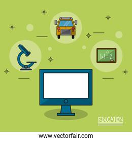 colorful poster of education with computer in closeup and icons of microscope and bus and blackboard
