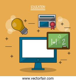 colorful poster of education with computer and blackboard in closeup and icons of light bulb and diploma