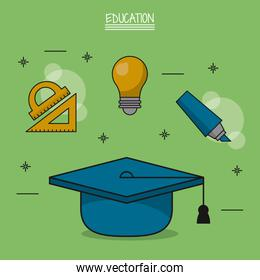 colorful poster of education with graduation cap in closeup and icons of geometric rulers and light bulb and marker