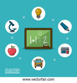 colorful poster of education with blackboard in closeup and icons of education around him