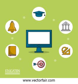 colorful poster of education with computer in closeup and icons of education around him