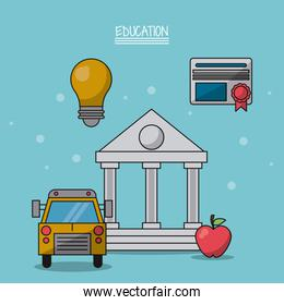 colorful poster of education with parthenon in closeup and icons of school bus and light bulb and diploma and apple fruit