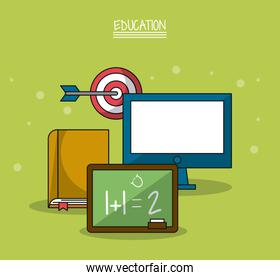 colorful poster of education with blackboard in closeup and icons of book and computer and target