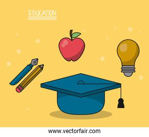 colorful poster of education with graduation cap in closeup and icons of pencil and fountain pen and apple fruit and light bulb