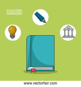colorful poster of education with book in closeup and icons of marker and light bulb and parthenon