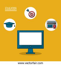 colorful poster of education with computer in closeup and icons of graduation