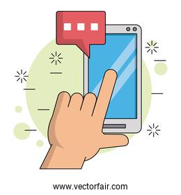 color background with hand and finger over smartphone screen with text dialogue in red